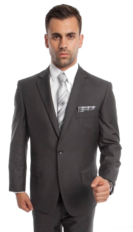 M202-14 ( 2pc Mens Two Button Notch Lapel Modern Fit Solid Suits With One Chest Pocket And Waistband pants )