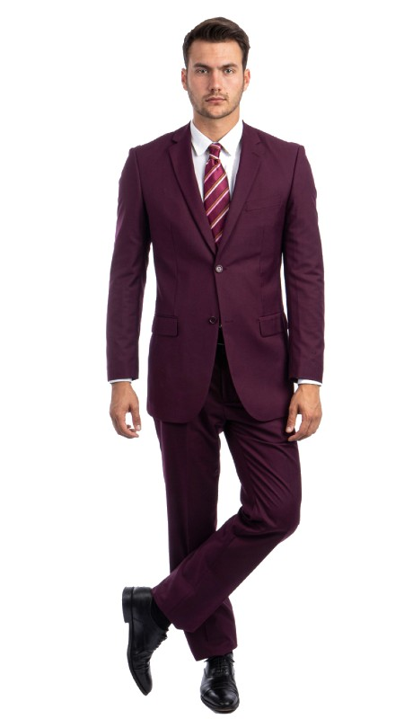 M202-15 ( 2pc Mens Two Button Notch Lapel Modern Fit Solid Suits With One Chest Pocket And Waistband pants )