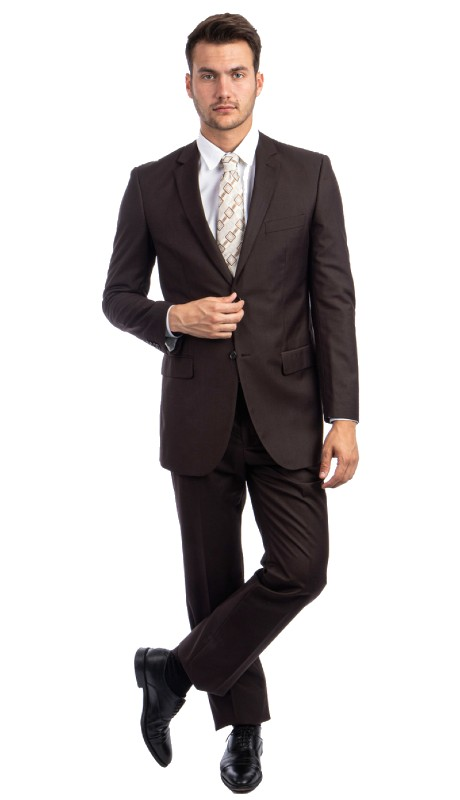M202-23 ( 2pc Mens Two Button Notch Lapel Modern Fit Solid Suits With One Chest Pocket And Waistband pants )