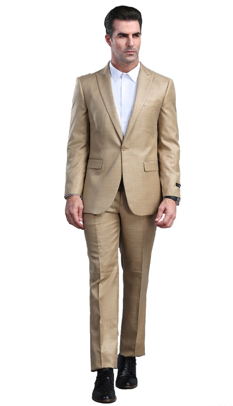 M294S-02 ( 2pc Mens One Button Notch Lapel Suits With Waistband Pants )
