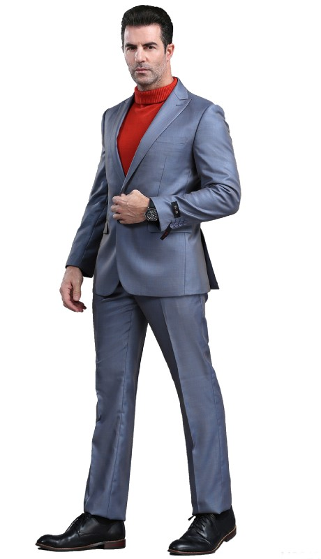 M294S-03 ( 2pc Mens One Button Notch Lapel Suits With Waistband Pants )