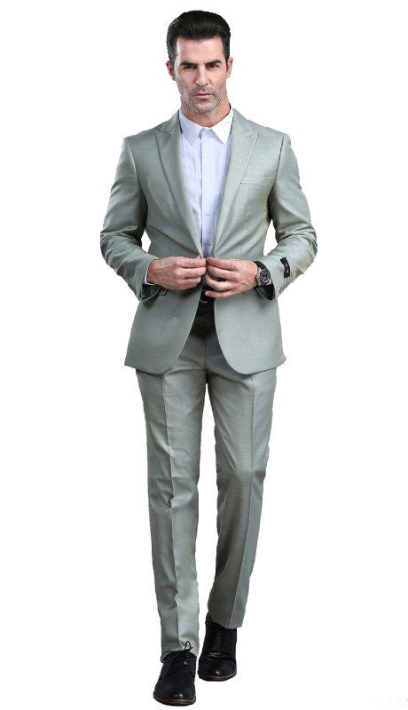M294S-04 ( 2pc Mens One Button Notch Lapel Suits With Waistband Pants )