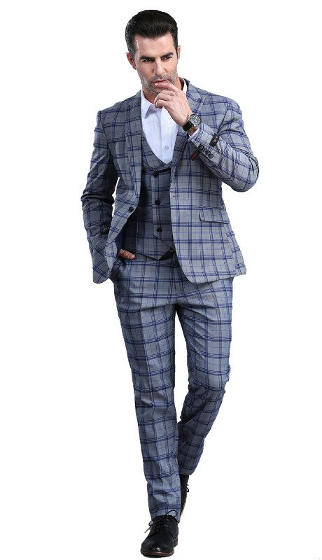 M295SK-01 ( 3pc Mens One Button Notch Lapel Skinny Fit Suit With Double Breast Vest And Waistband Pants )