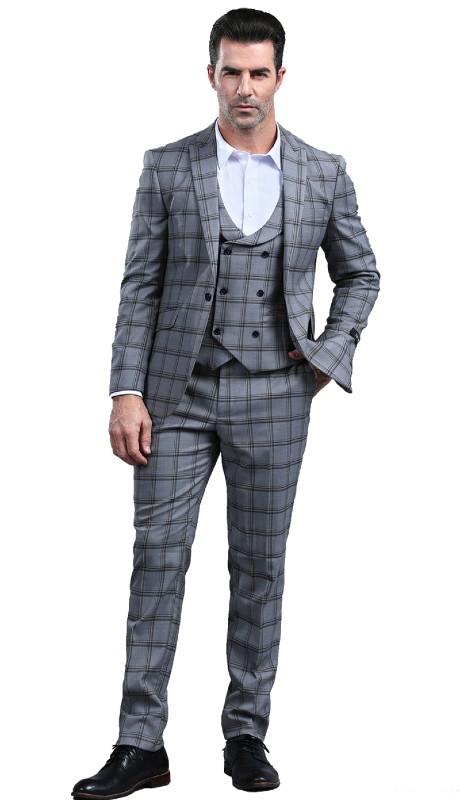 M295SK-02 ( 3pc Mens One Button Notch Lapel Skinny Fit Suit With Double Breast Vest And Waistband Pants )