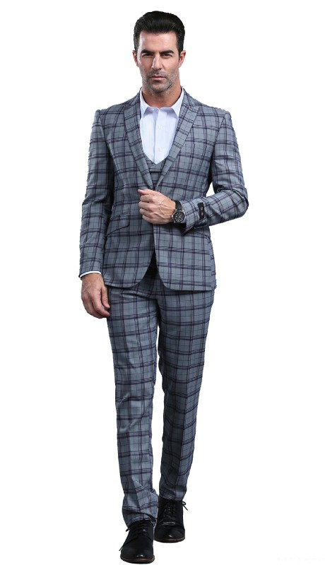 M295SK-03 ( 3pc Mens One Button Notch Lapel Skinny Fit Suit With Double Breast Vest And Waistband Pants )