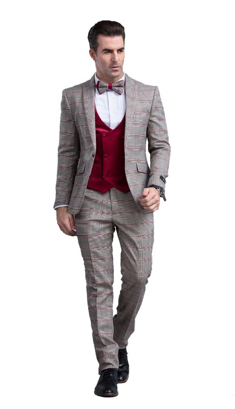M296SK-02 ( 3pc Mens One Button Notch Lapel Skinny Fit Suit With Vest And Pants )