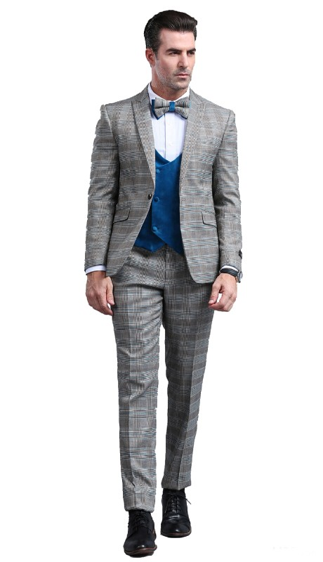 M296SK-03 ( 3pc Mens One Button Notch Lapel Skinny Fit Suit With Vest And Pants )
