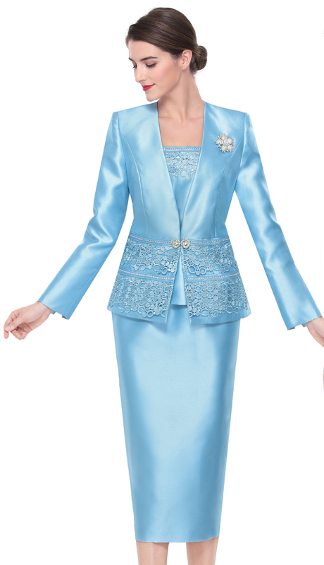 Serafina 3413-OB ( 3pc Silk Ladies Suit For Church )
