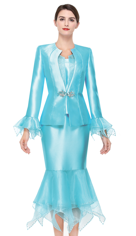 Serafina 3902-BL ( 3pc Silk Ladies Church Suit )