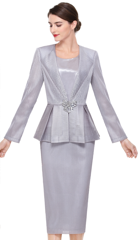 Serafina 3914-SI ( 3pc Brocade Ladies Church Suit )