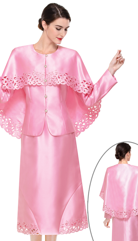 Serafina 3909-PI ( 3pc Silk Ladies Church Suit )