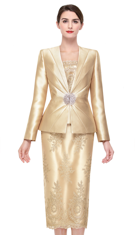 Serafina 3930-GO ( 3pc Silk With Lace Suit For Church )