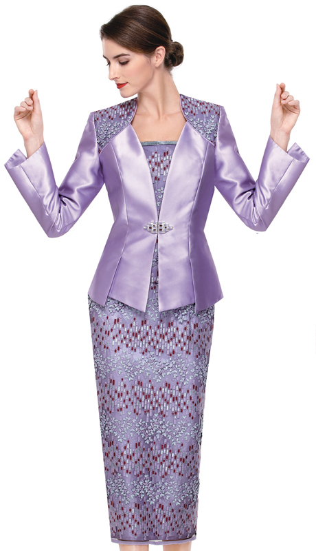 Serafina 3828-LA ( 2pc Silk With Lace Suit For Church )