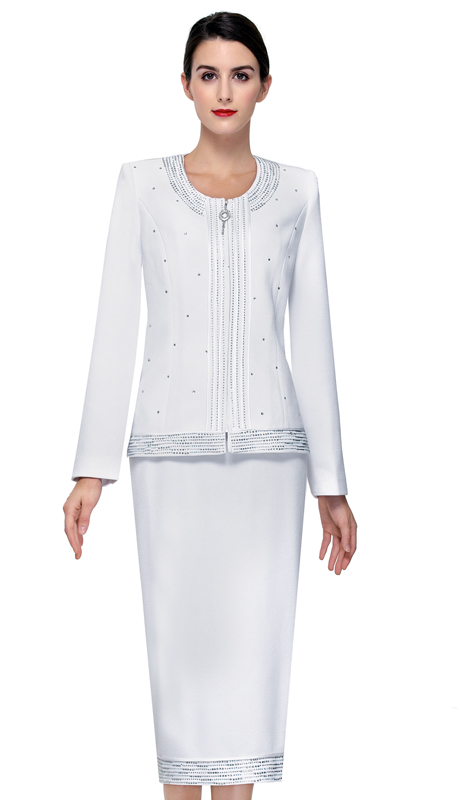Serafina 802-WH ( 2pc Knit Ladies Suit For Church )