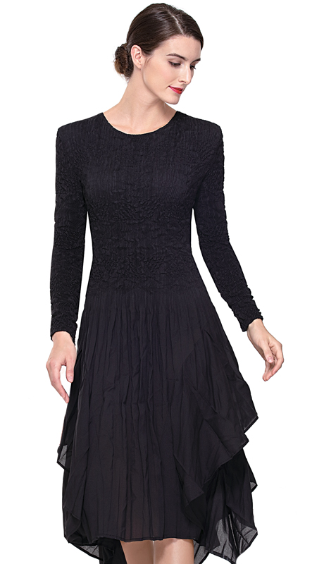 Serafina 602-BK ( 1pc Ladies Pleated Dress )