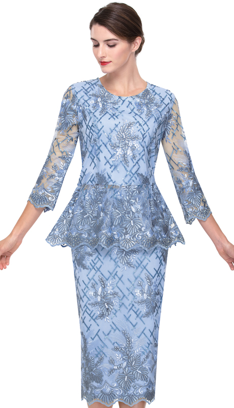 Serafina 525-BL ( 2pc Lace First Ladies Dress )