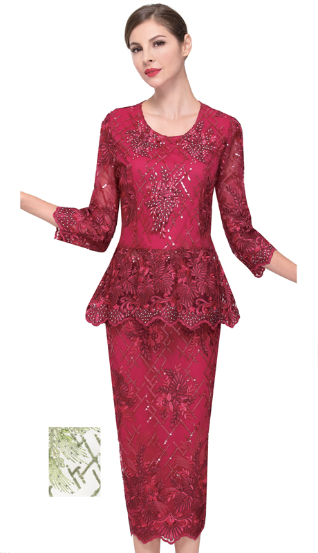 Serafina 525-BE ( 2pc Lace First Ladies Suit )