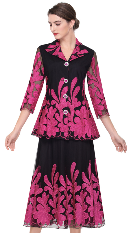 Serafina 522-BP ( 2pc Satin With Organza Ladies Dress For Church )