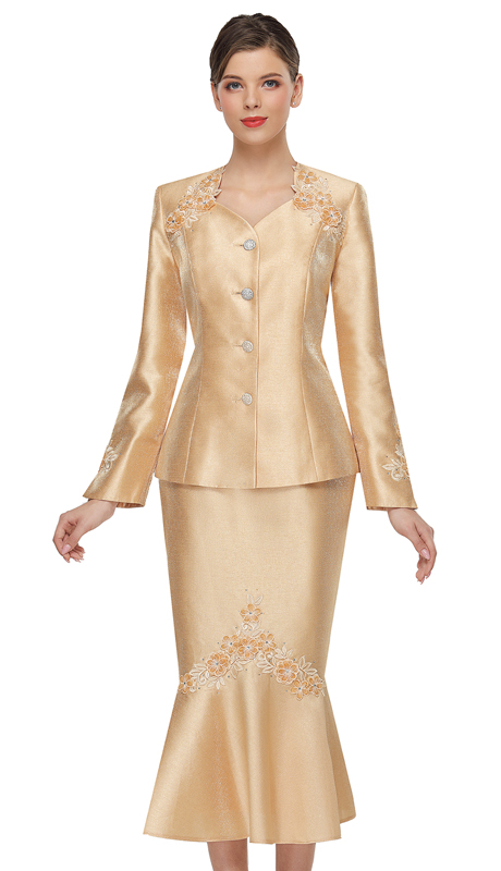 Serafina 4011 ( 2pc Silk Womens Church Suit )