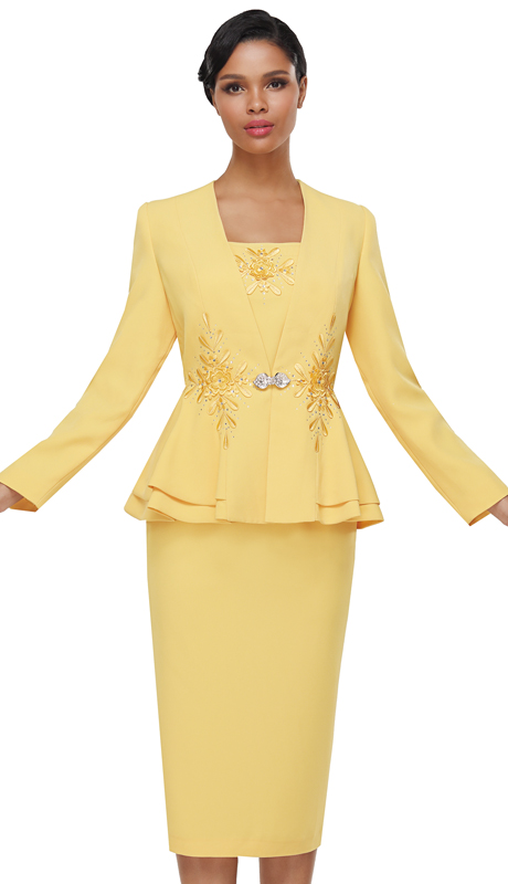 Serafina 4023 ( 3pc PeachSkin Ladies Suit For Church )