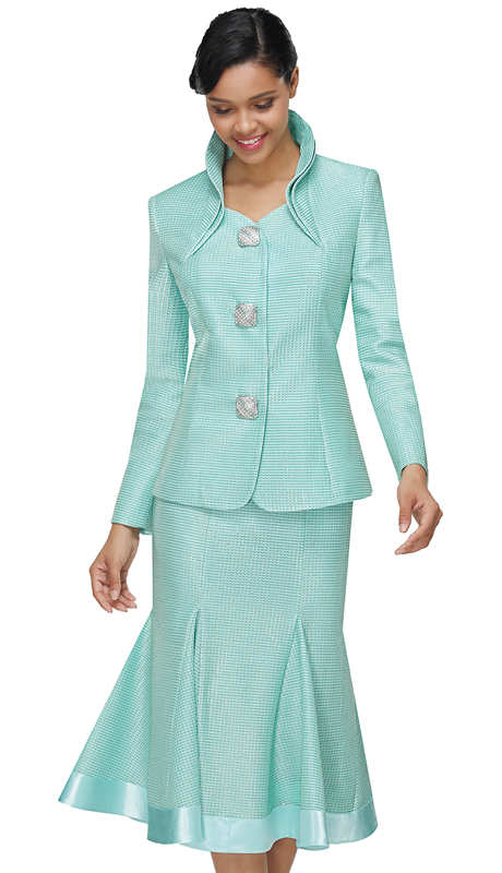 Serafina 3953-MI ( 2pc Metallic Sunday Suit )