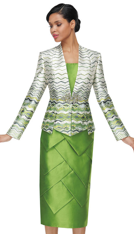 Serafina 4021-GM ( 3pc Silk Ladies Suit For Church )