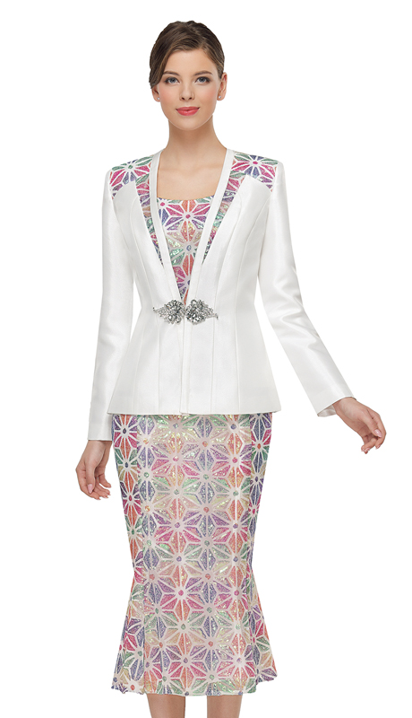 Serafina 4041-OWM ( 3pc Silk Ladies Sunday Suit )