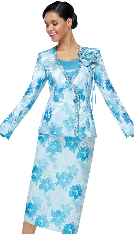 Serafina 4031-BL ( 3pc Novelty Ladies Suit For Sunday )