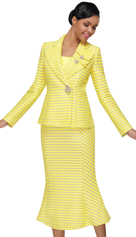 Serafina 4040-YE ( 3pc Novelty Ladies Church Suit )
