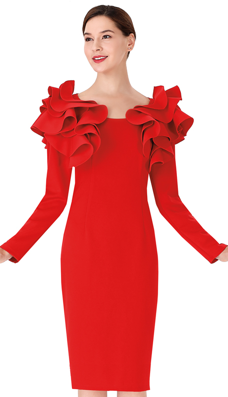 Serafina 3033D-CO ( 1pc Scuba Knit Ladies Dress )