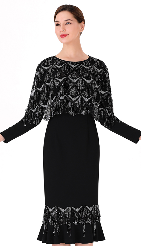 Serafina 3043D ( 1pc Novelty Ladies Dress With Sequins )