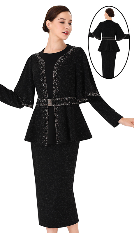 Serafina 3952-BK ( 3pc Novelty Ladies Suit For Church )