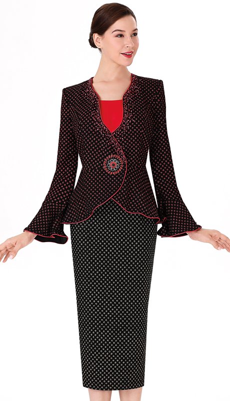 Serafina 3954-RB ( 3pc Novelty Ladies Suit For Church )