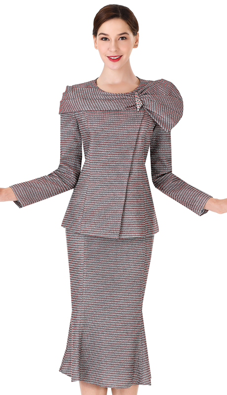Serafina 3964 ( 2pc Metallic Ladies Suit For Church )