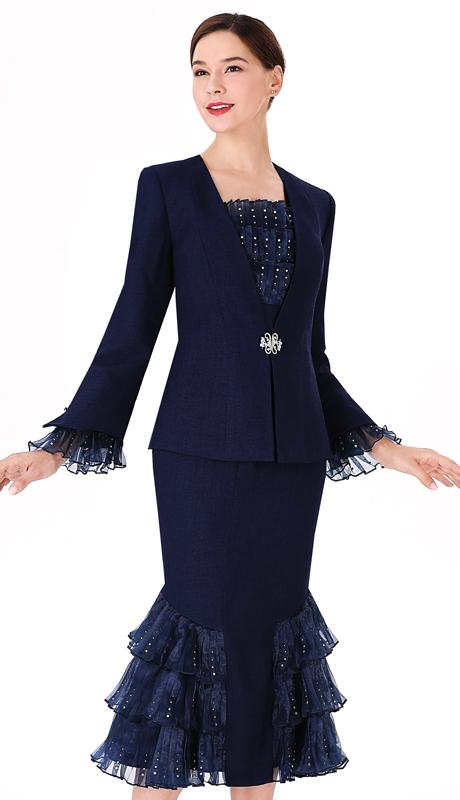 Serafina 3974 ( 3pc Silk Ladies Suit For Church )