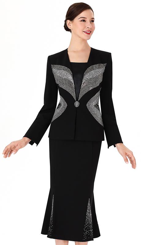 Serafina 3951-BL ( 3pc PeachSkin Ladies Church Suit )