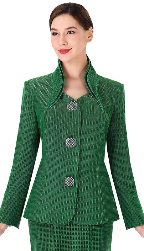 Serafina 3953-EM ( 2pc Metallic Sunday Suit For Church )