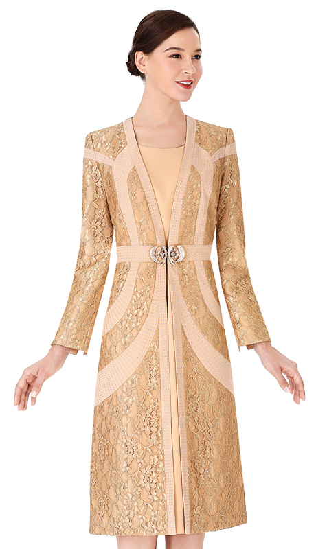 Serafina 3962 ( 2pc PeachSkin With Lace Ladies Jacket With Dress For Church )