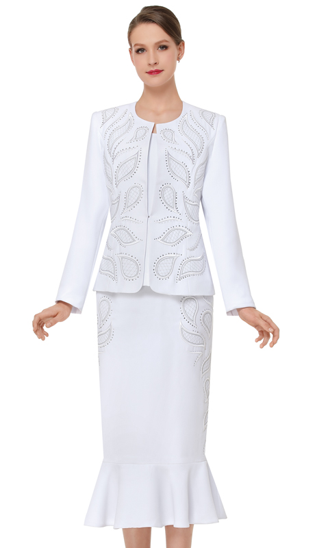Serafina 3840-WH ( 3pc PeachSkin Ladies Church Suit )
