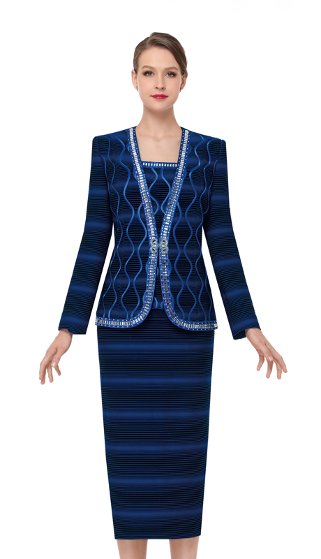 Serafina 3872-RO (3pc Novelty Womens Church Suit )