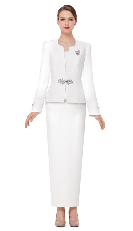 Serafina 3864-IV ( 3pc PeachSkin Ladies Church Suit )