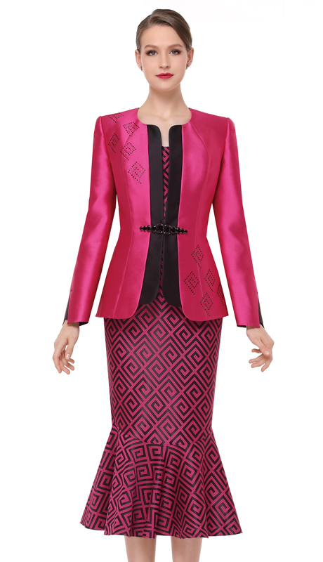Serafina 3865-HPB ( 3pc Silk With Novelty Ladies Church Suit )