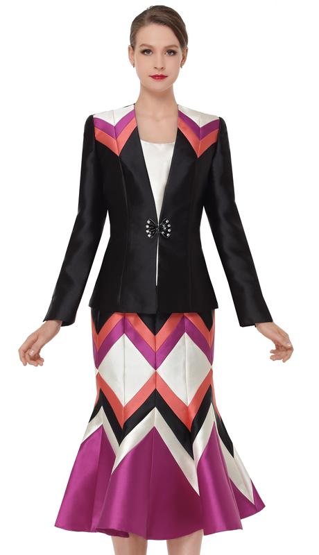 Serafina 3863-BM ( 3pc Silk Womens Sunday Suit )