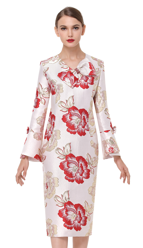 Serafina 6170-RG ( 1pc Brocade Ladies Dress For Church )