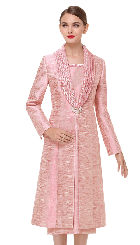 Serafina 3720-RO-CO ( 2pc Metallic Long Shawl Lapel Jacket Sunday Dress )