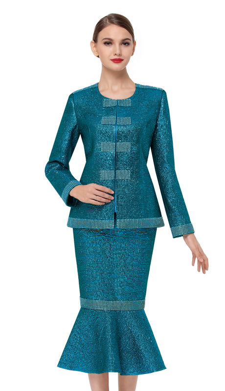 Serafina 3725-TE ( 3pc Brocade Ladies Sunday Suit )