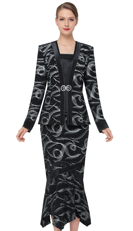 Serafina 3858-BS ( 3pc Novelty Ladies Church Suit )