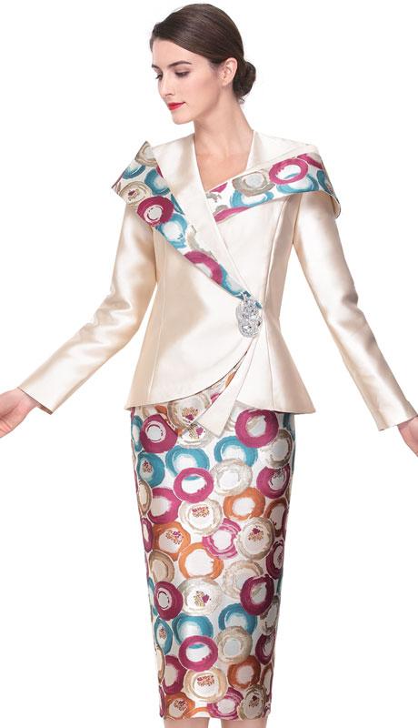 Serafina 3927-CM ( 2pc Silk Ladies Suit For Church )