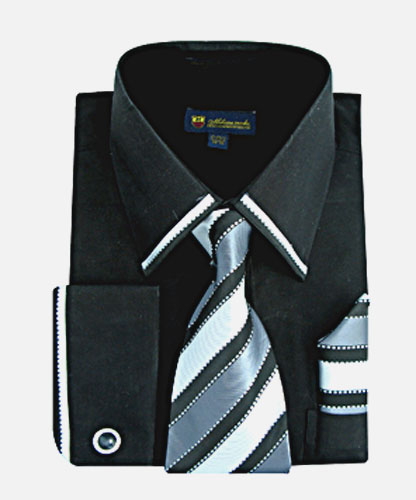 SG23Black-H ( Matching Tie, Cuff Link And Hanky Included )