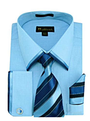 SG23Blue-H ( Matching Tie, Cuff Link And Hanky Included )